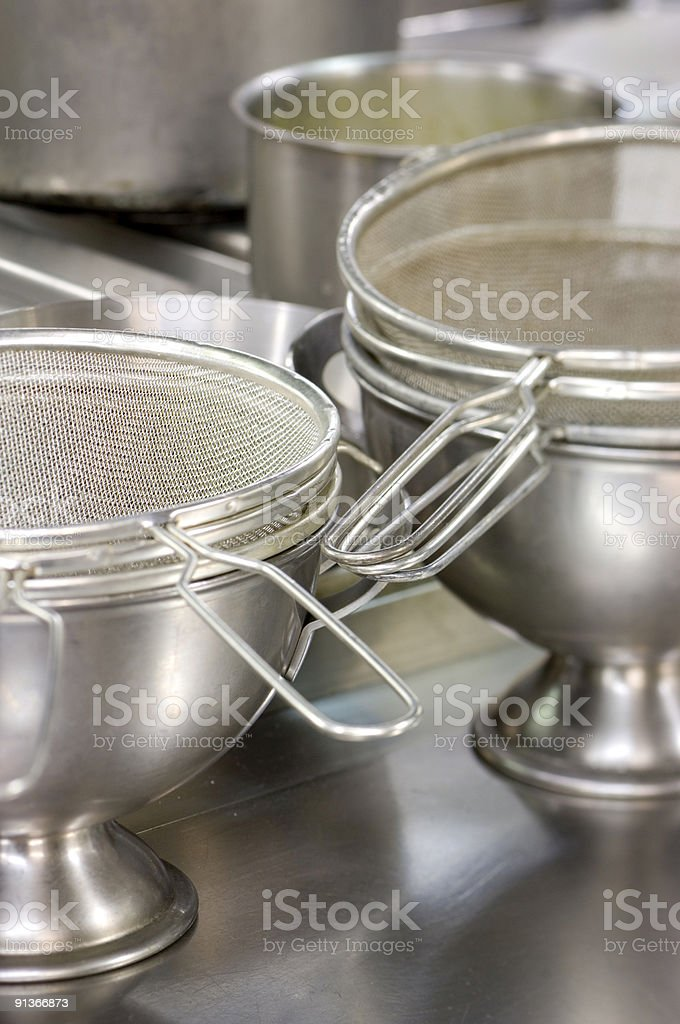 metal sieves and pans in restaurant's kitchen royalty-free stock photo