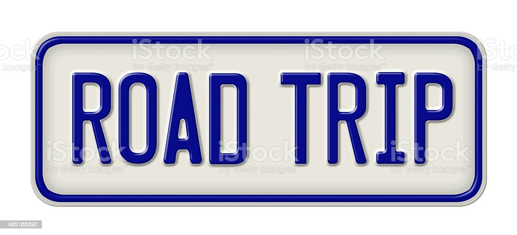 Metal sign with the inscription Road Trip vector art illustration