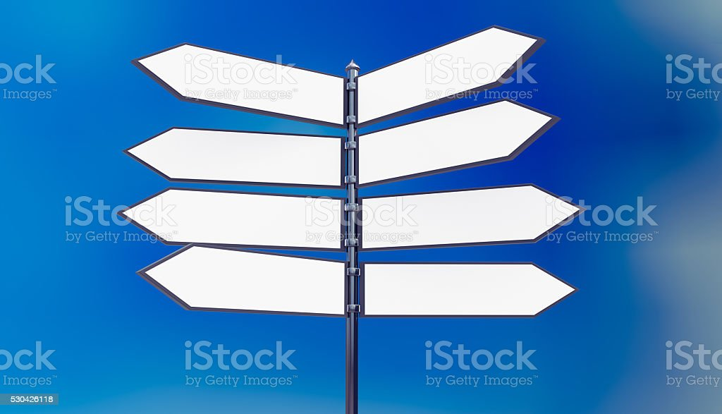Metal signpost in front of blue sky with blank arrows stock photo