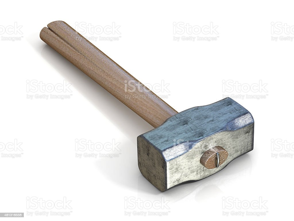 Metal sledge hammer, side view stock photo
