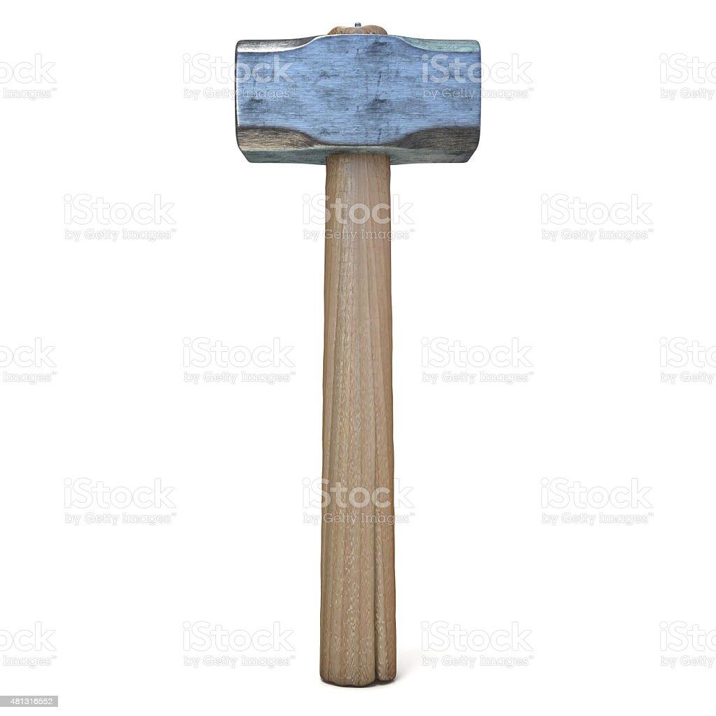 Metal sledge hammer, standing stock photo