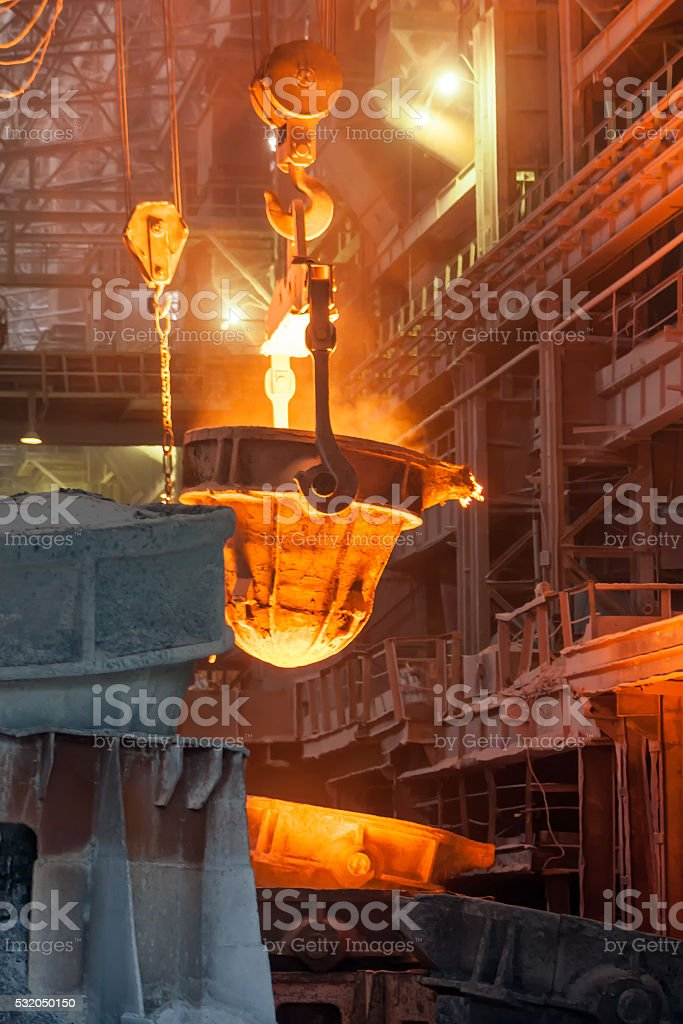 Metal smelting casting royalty-free stock photo