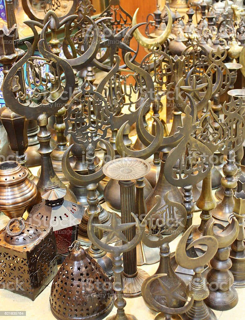 Metal souvenirs sold in a Turkish bazaar stock photo