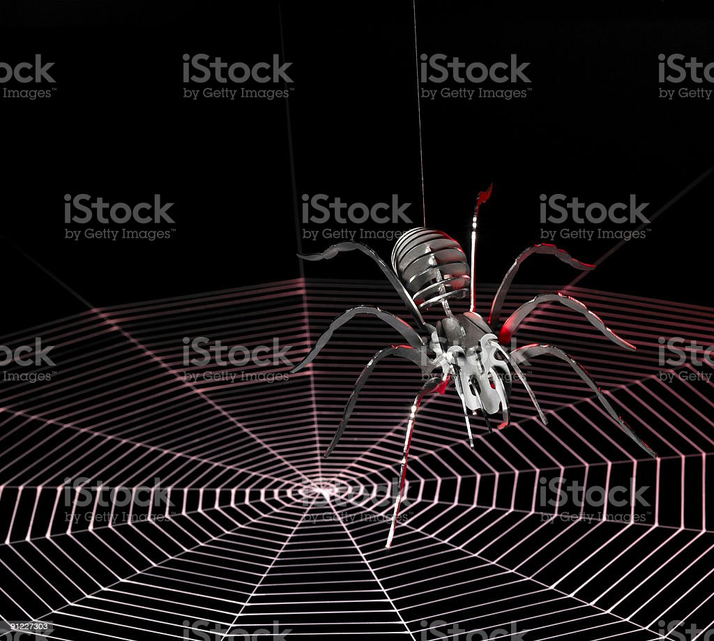 metal spider and spiderweb royalty-free stock photo