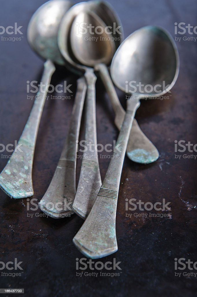 metal spoons royalty-free stock photo