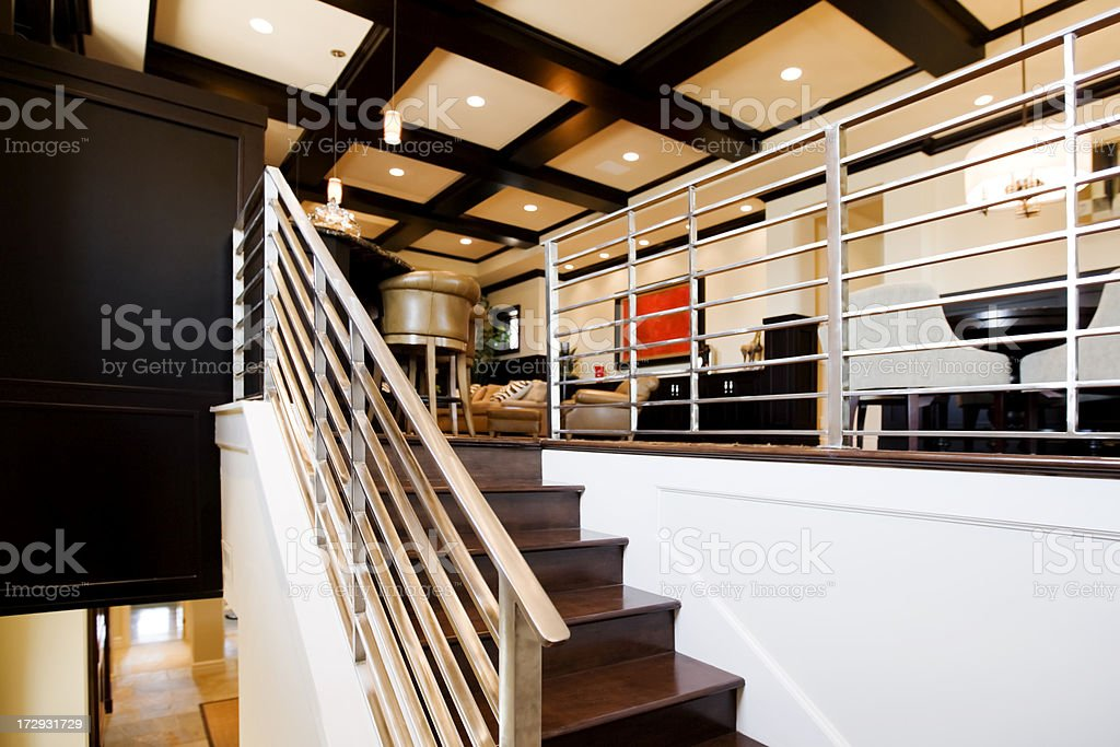 Metal stair railing in a ultra modern new home royalty-free stock photo