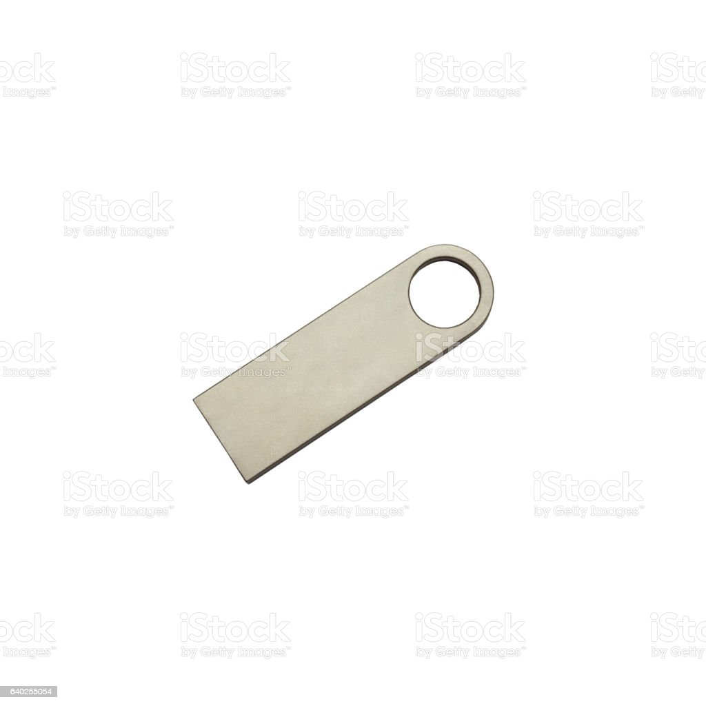 Metal steel  flash drive isolated on a white background stock photo