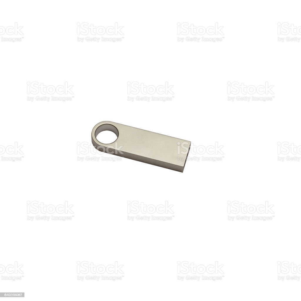 Metal steel USB flash drive isolated on a white background stock photo