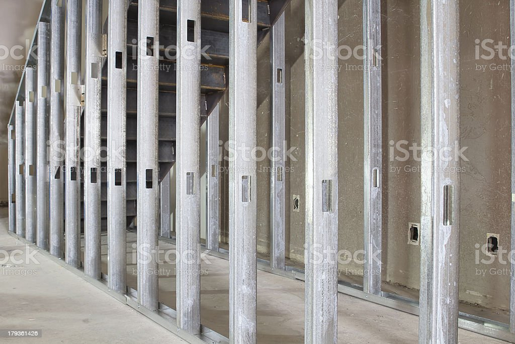 Metal Stud Framing in Commercial Space stock photo