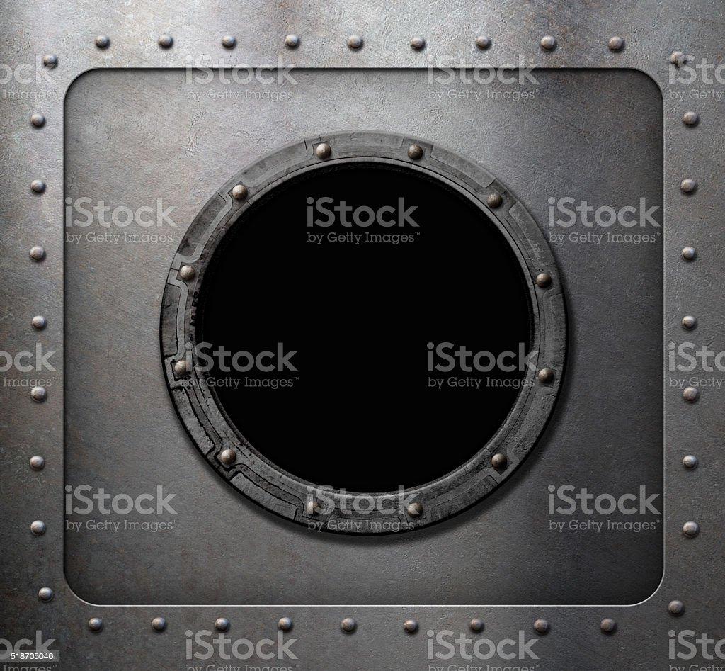 metal submarine or ship porthole window stock photo
