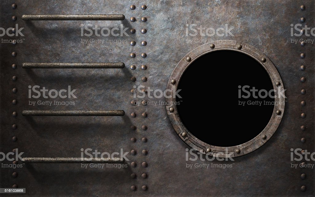 metal submarine or ship side with stairs and porthole stock photo