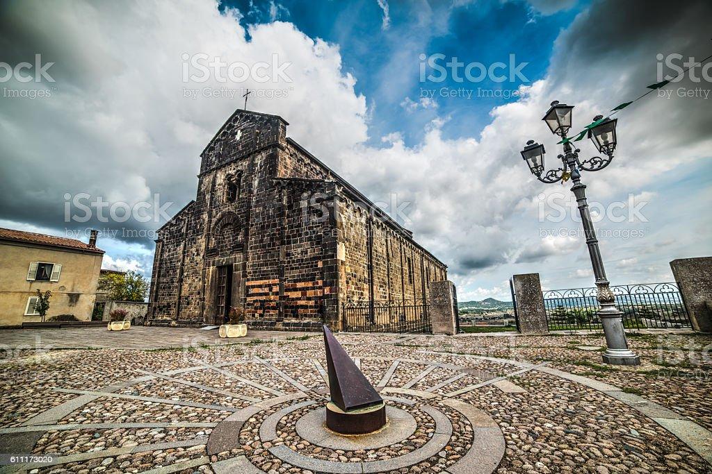 metal sundial in Santa Maria del Regno square stock photo