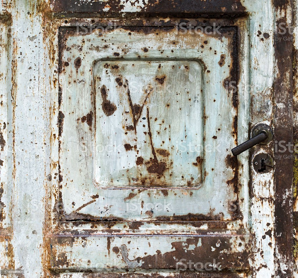 Metal Surface Background Door Lock Rust Grunge Scratched Green Gray stock photo
