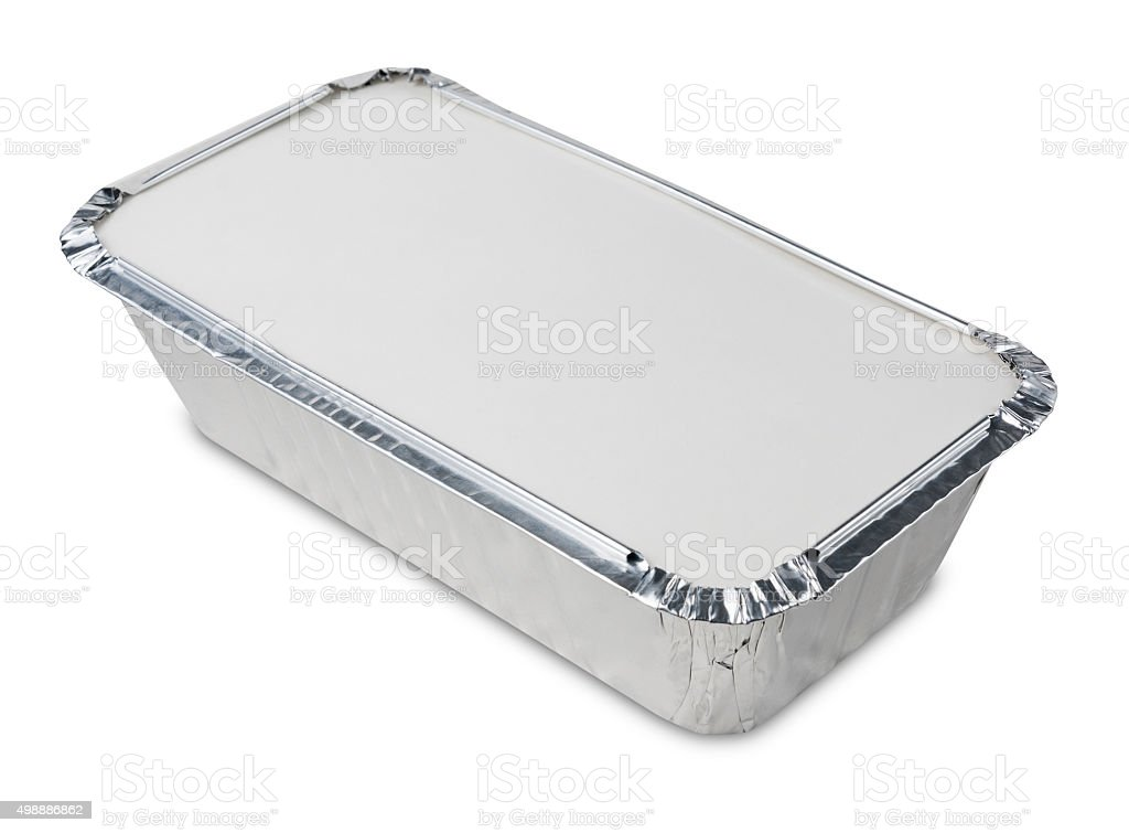 Metal take away food container on a white background stock photo