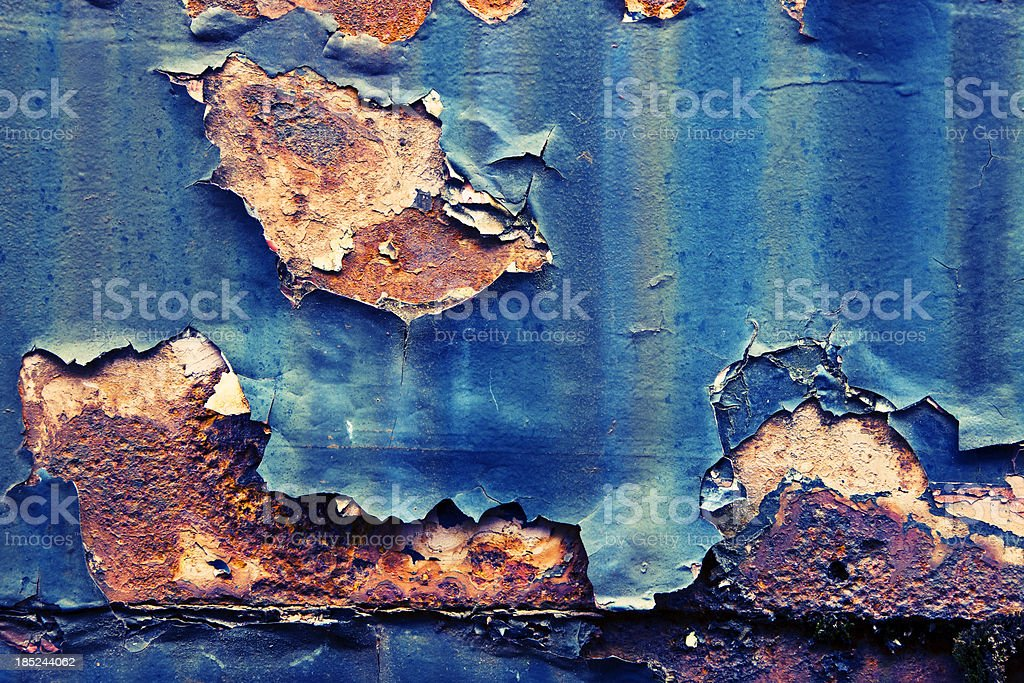 Metal Texture with Blue Paint and Rust royalty-free stock photo
