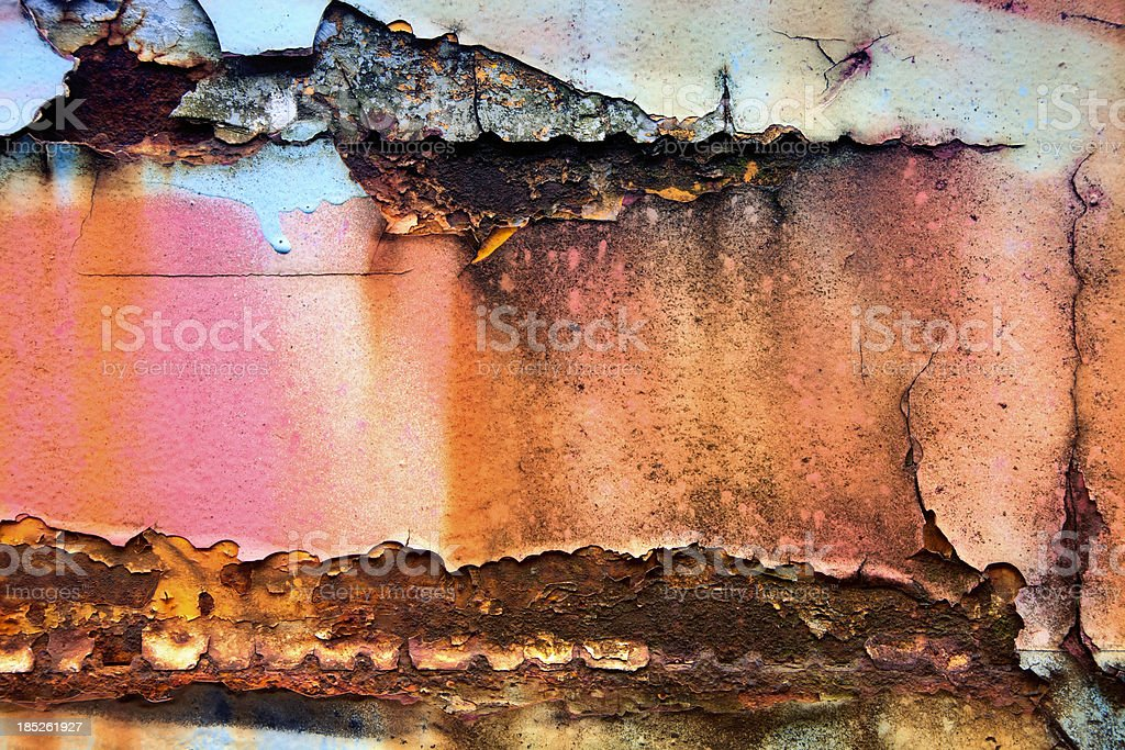 XXXL Metal Texture with Blue Pink Paint and Rust royalty-free stock photo