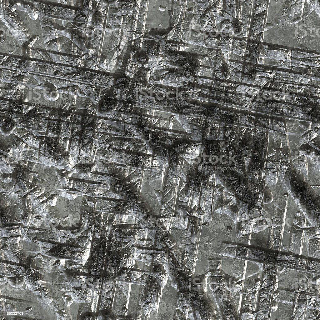 Metal texture with deep scars seamless texture background. stock photo