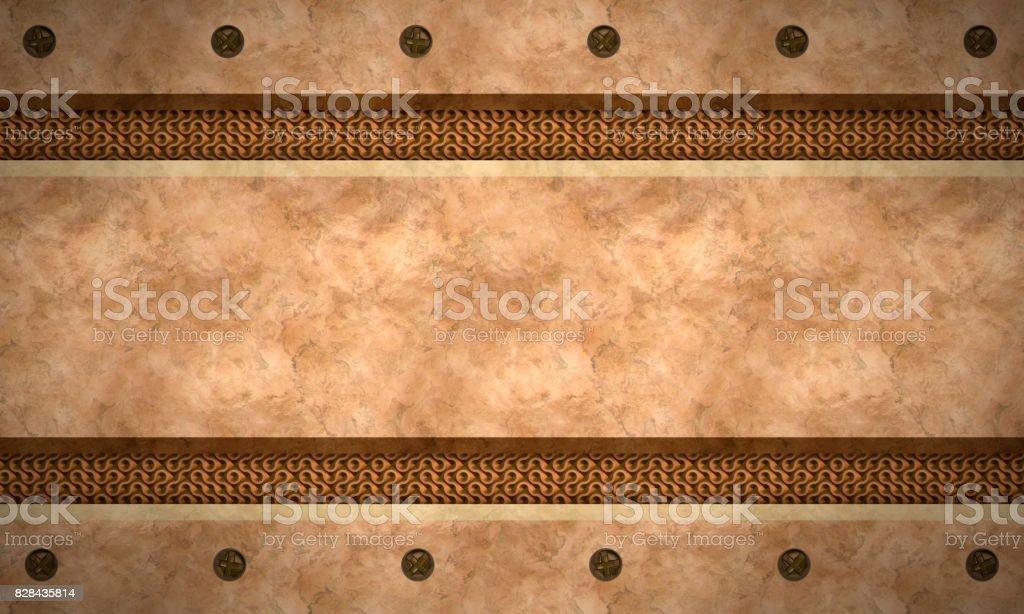 Metal textured background.Bronze trushet. stock photo