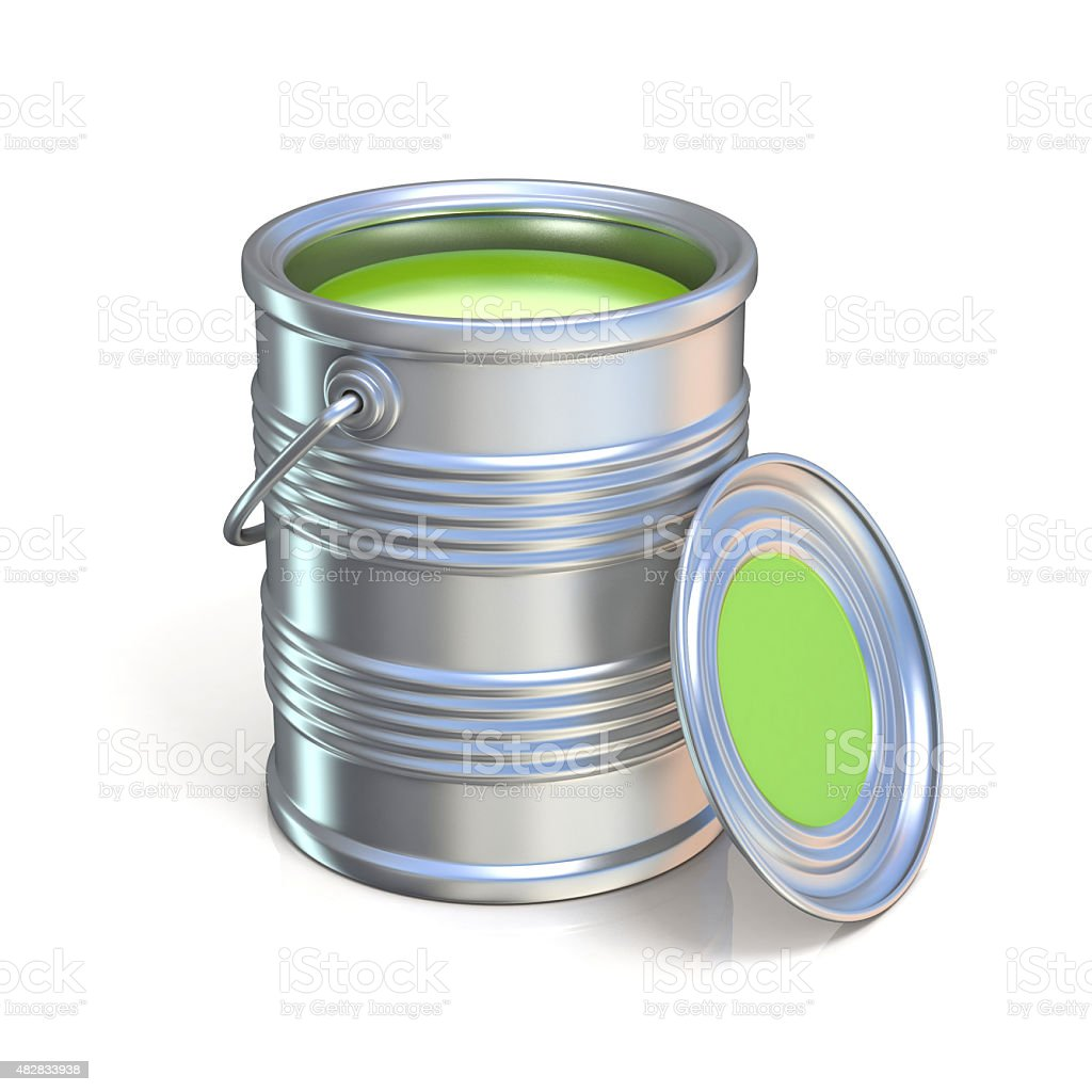Metal tin can with green paint stock photo