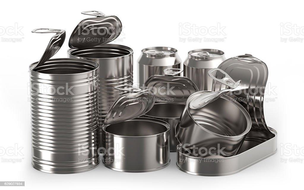 Metal tin cans stock photo