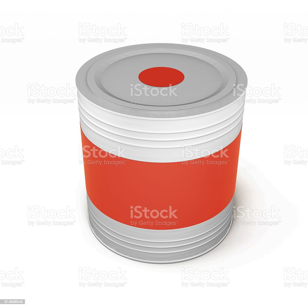 Metal tin paint can isolated on white background. 3d rendering stock photo