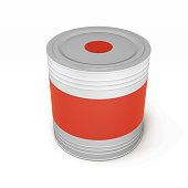 Metal tin paint can isolated on white background. 3d rendering