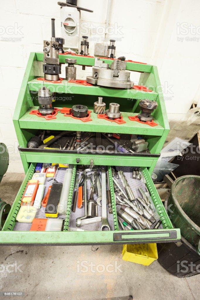 metal tool trolley stock photo