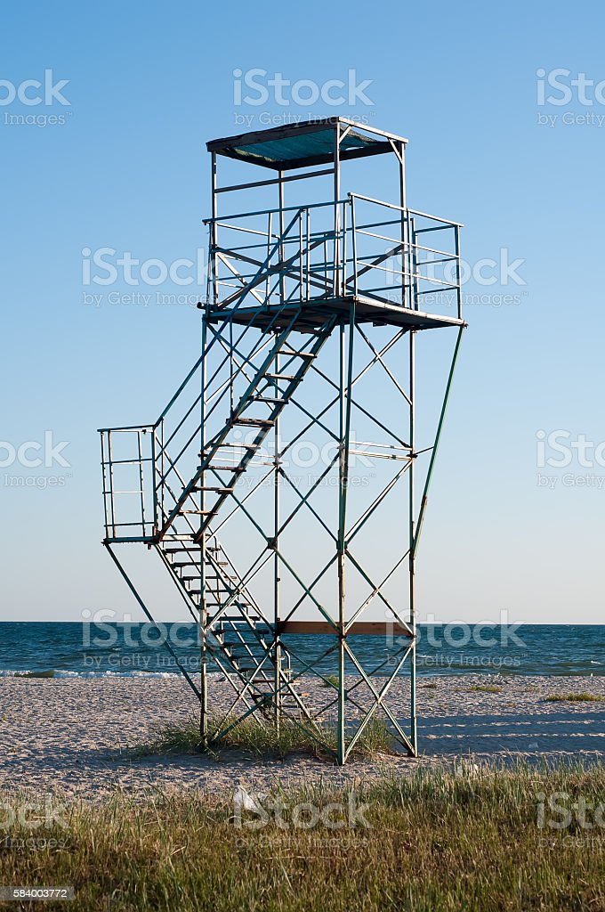 Metal tower of the coast guard stock photo