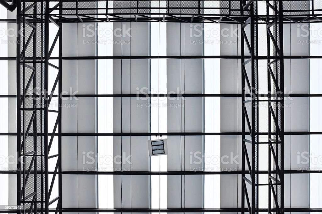 metal truss of roof structure stock photo