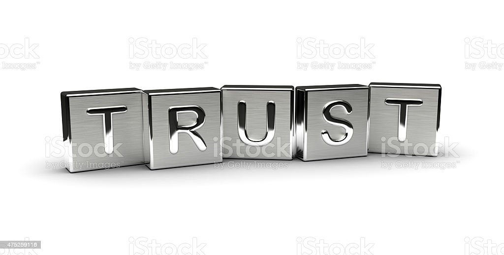 Metal Trust Text stock photo