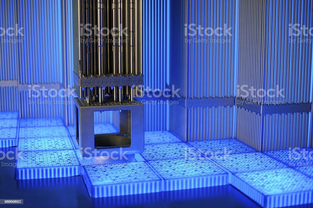 Metal tubes in blue glow stock photo