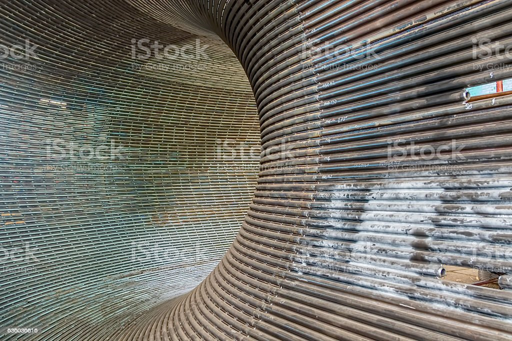 Metal tunnel background stock photo