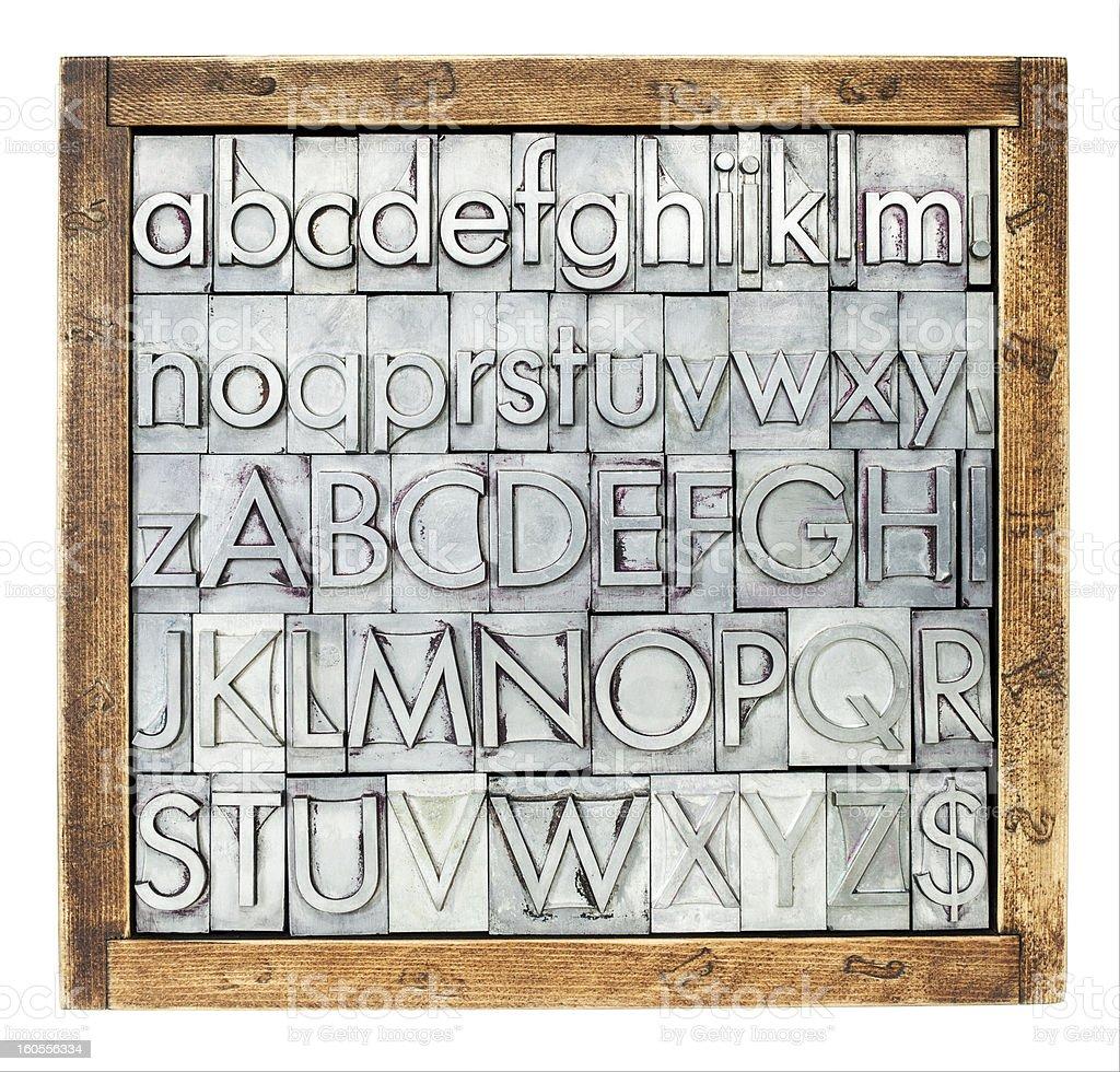 metal type alphabet stock photo