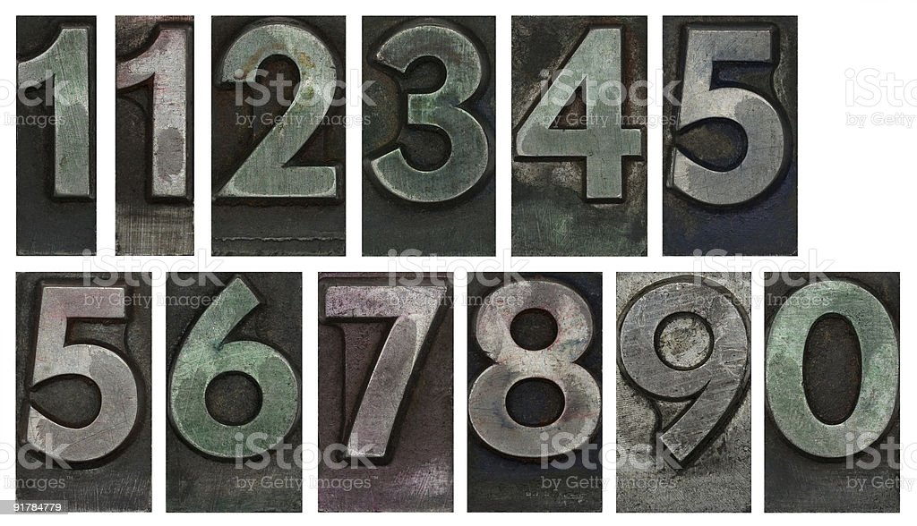Metal type numbers isolated on white stock photo