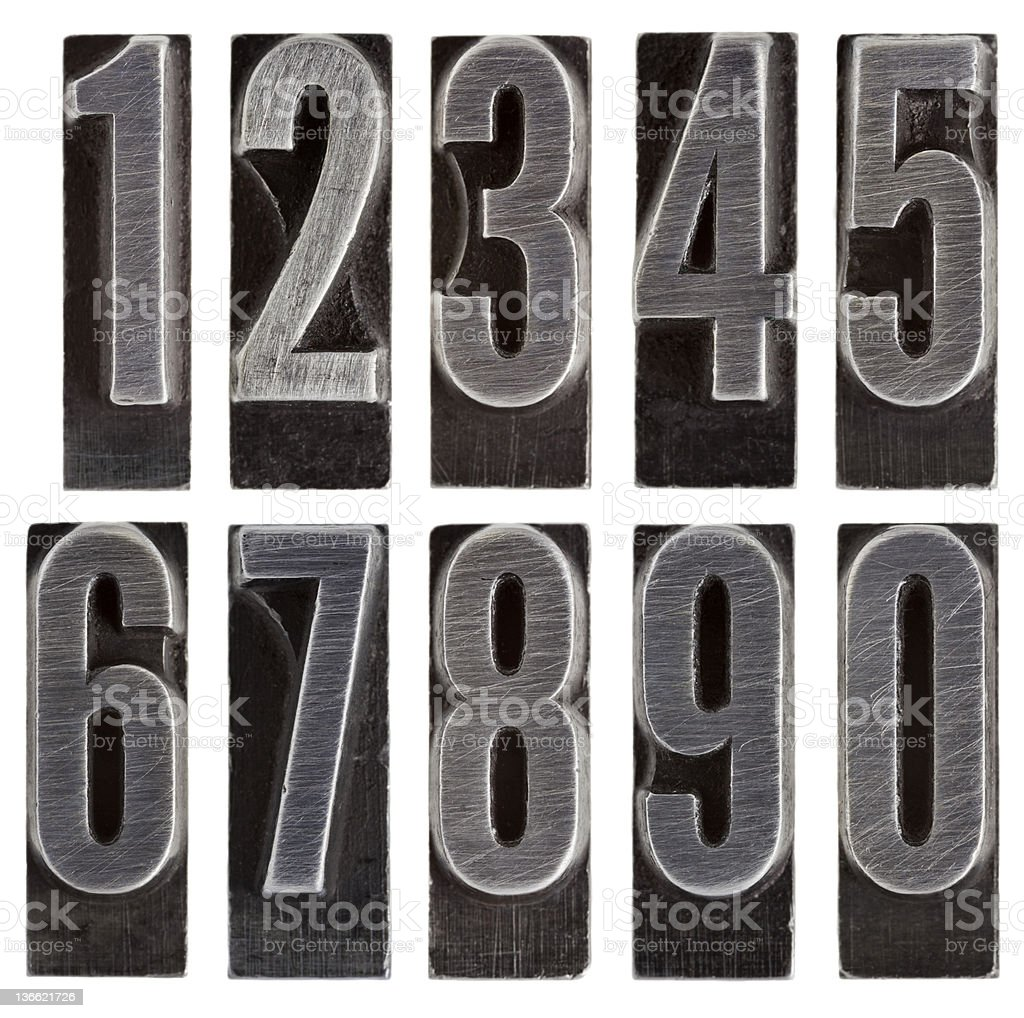 metal type numbers isolated royalty-free stock photo