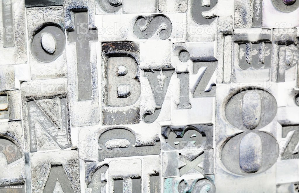 Metal Type Printing Press Typeset Obsolete Typography Text Letter stock photo
