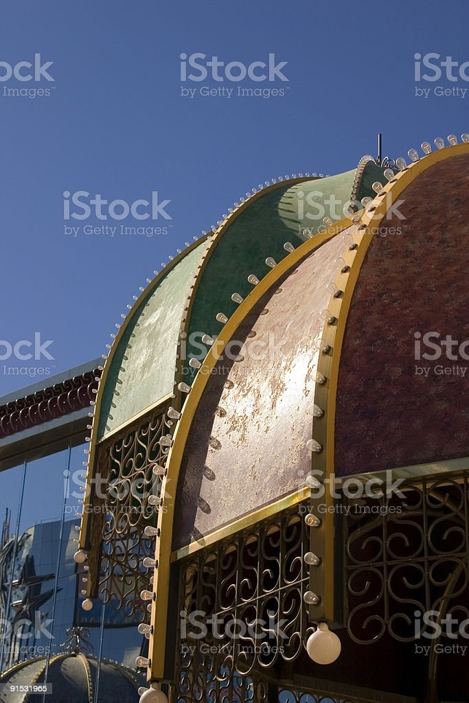 Metal Umbrella with Bulbs and Lights in Las Vegas royalty-free stock photo