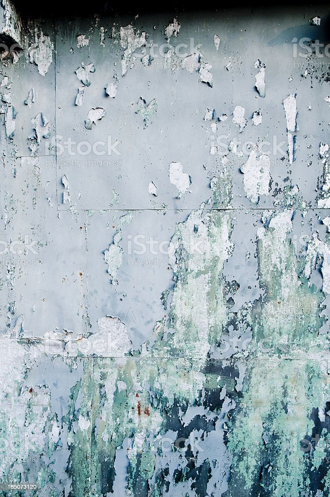Metal Wall with Flaked Paint and Rust royalty-free stock photo