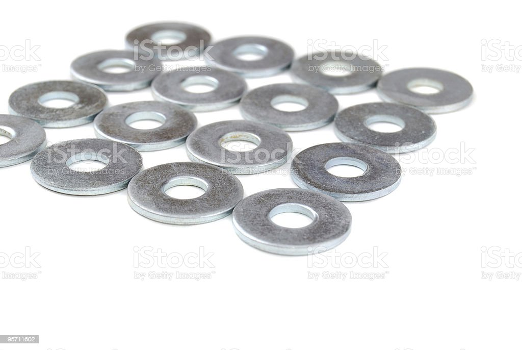 Metal washers stock photo