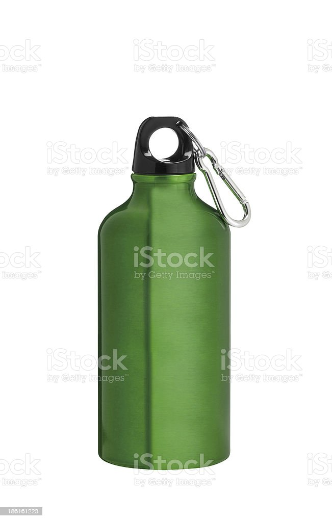 Metal water flask on a white background royalty-free stock photo