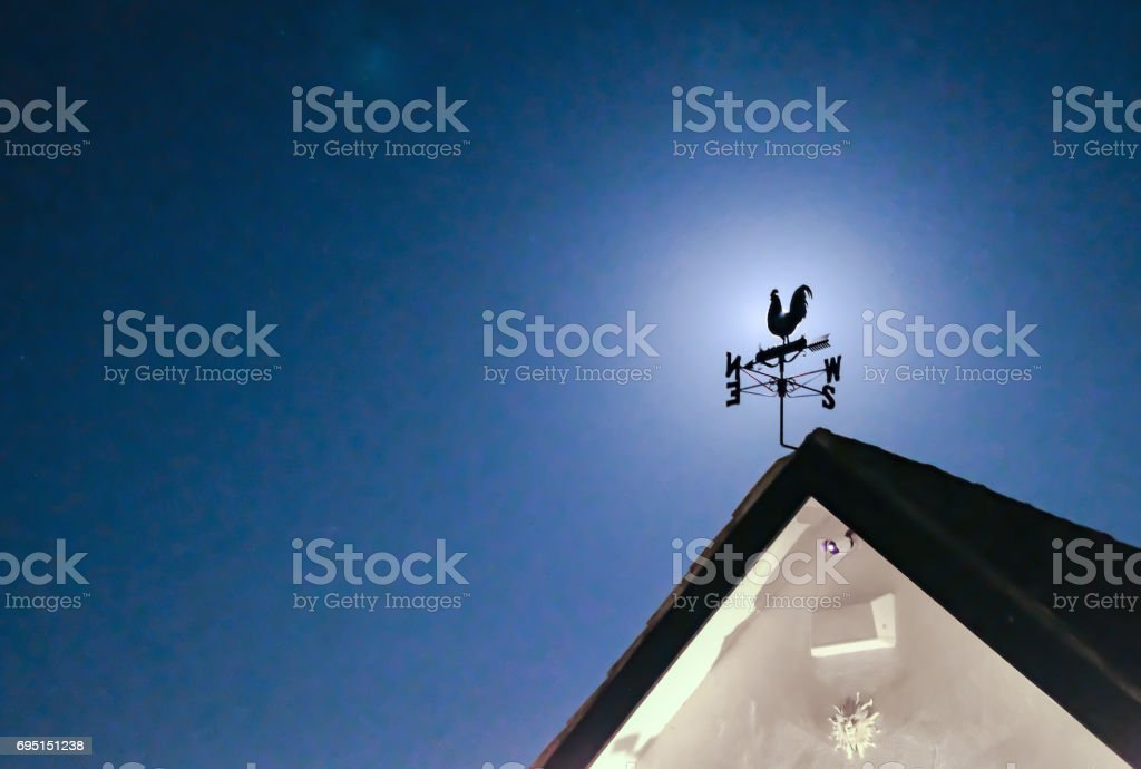 Metal weather vane seen at night with a full moon in the background,...