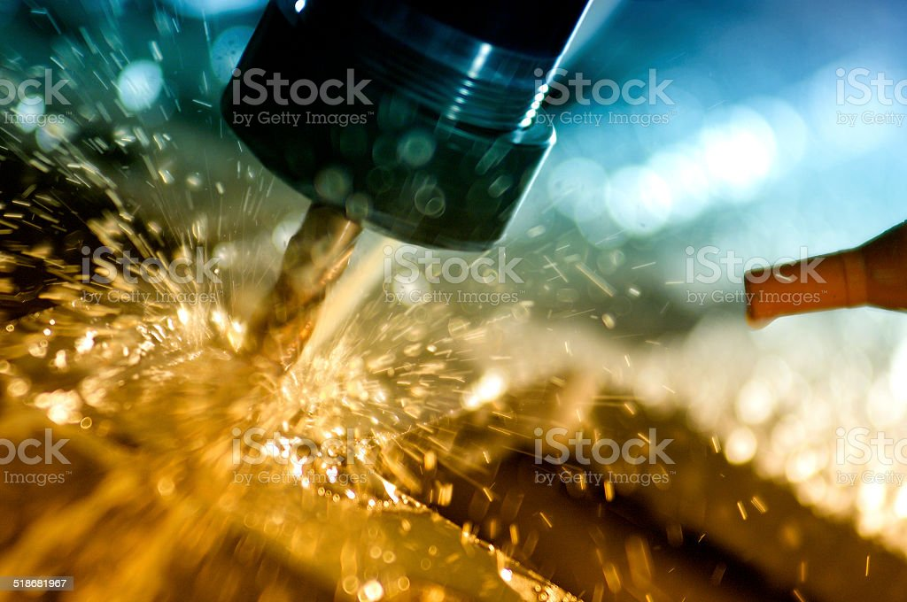 Metal welding sparks close-up stock photo