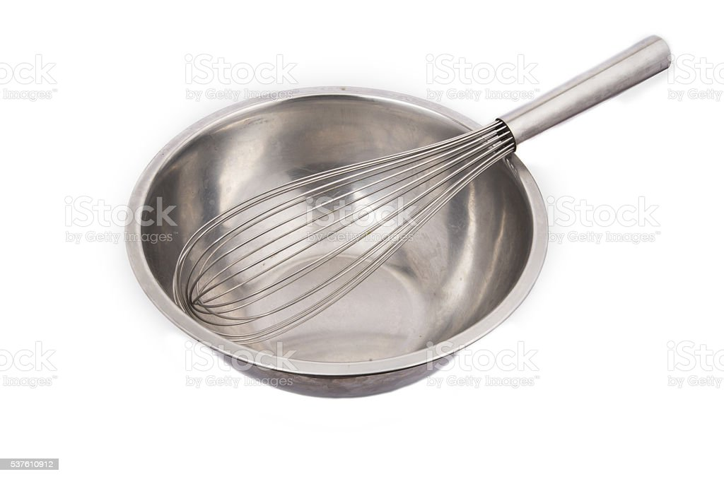 Metal whisk for whipping eggs isolated on white stock photo