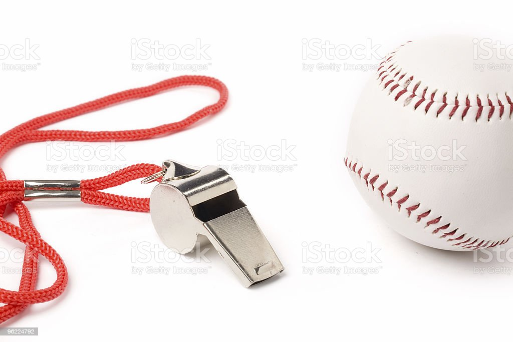 metal Whistle and Baseball stock photo