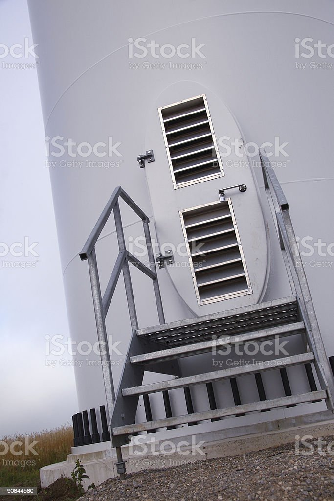 Metal Windmill Maintenance Door royalty-free stock photo