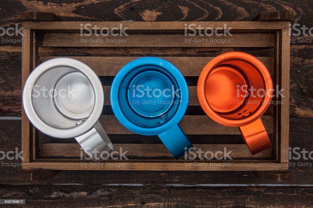metal wine cups stock photo