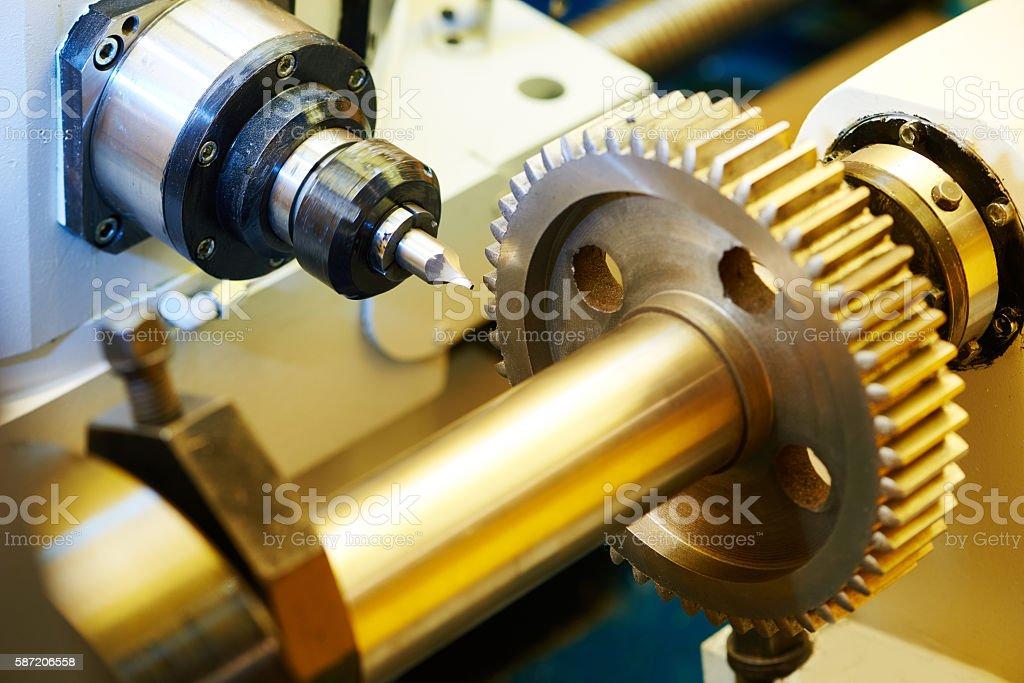 metal working gear machining stock photo