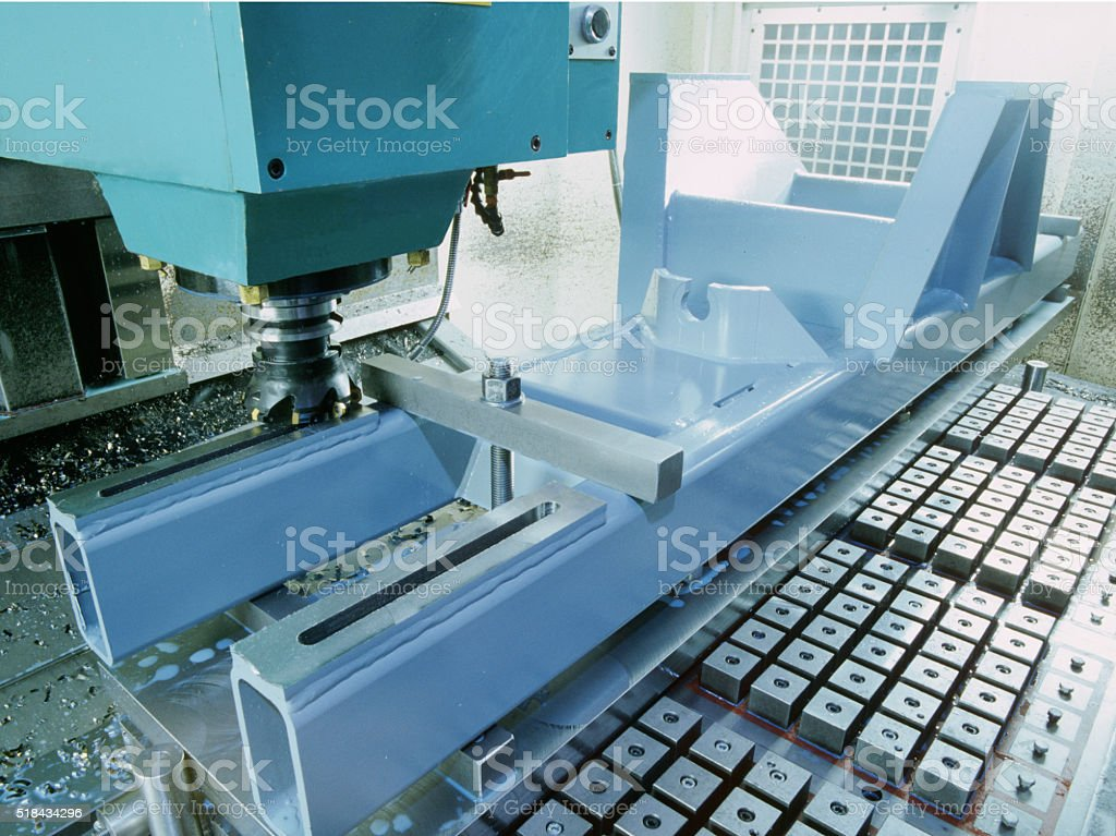 Metal Working Industrial Lathe stock photo