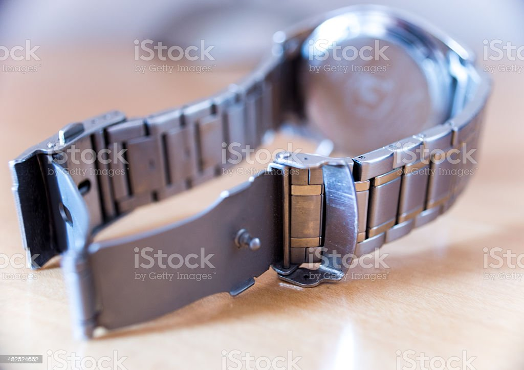 Metal Wristwatch on a Table royalty-free stock photo