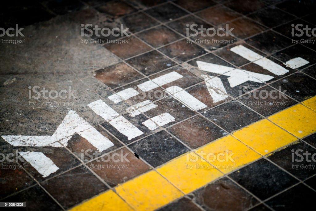 Metal written on floor stock photo
